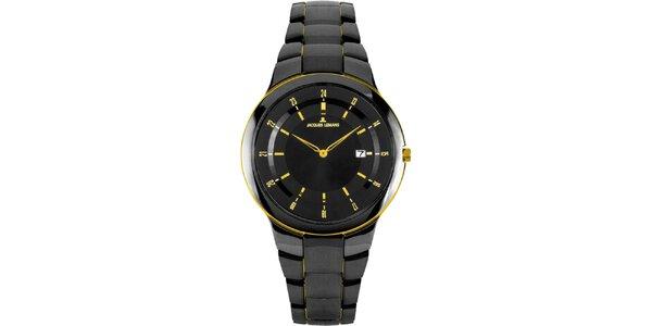 Dámské černé kulaté hodinky z oceli se žlutými detaily Jacques Lemans