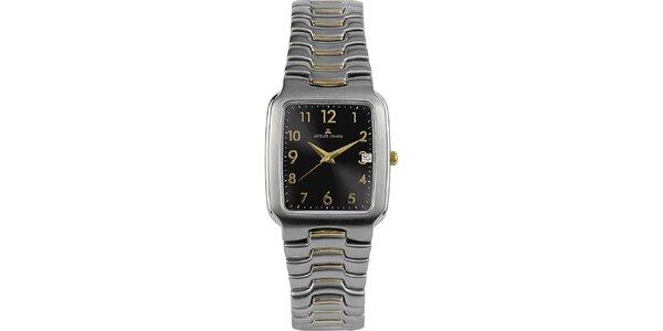 Pánské elegantní ocelové hodinky s černým ciferníkem Jacques Lemans