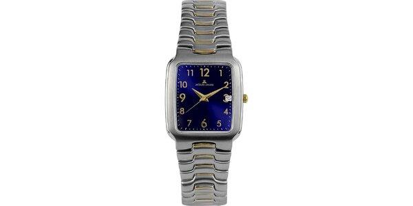 Pánské elegantní ocelové hodinky s modrým ciferníkem Jacques Lemans