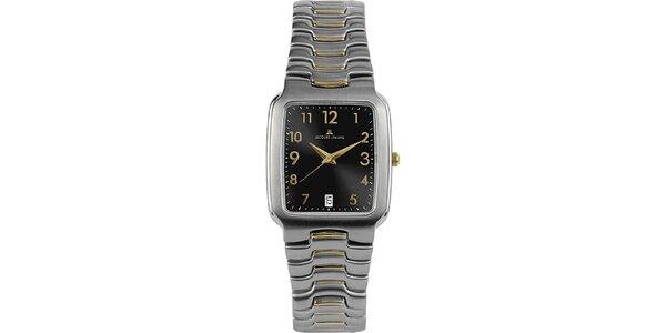 Dámské elegantní ocelové hodinky s černým ciferníkem Jacques Lemans