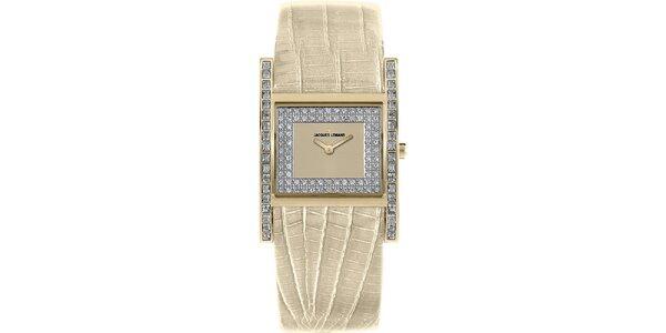 Dámské smetanové hodinky s krystaly Jacques Lemans