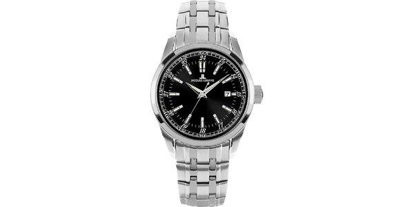 Dámské ocelové hodinky s kulatým černým ciferníkem Jacques Lemans