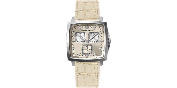 Pánské smetanové ocelové hodinky Jacques Lemans