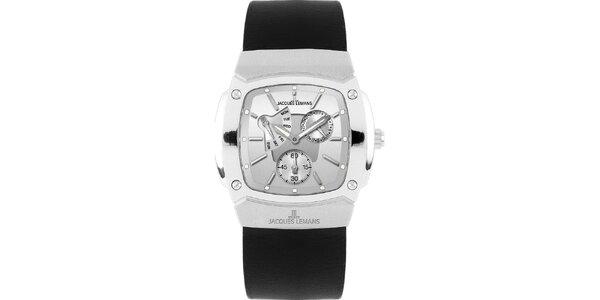 Pánské ocelové hodinky s hladkým černým řemínkm Jacques Lemans