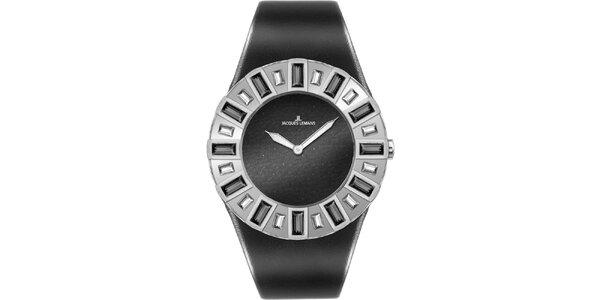 Dámské černé hodinky s krystaly Jacques Lemans