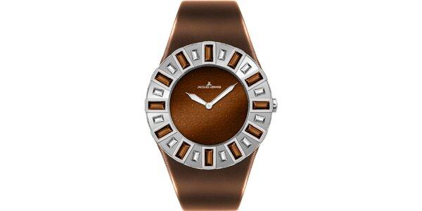 Dámské hnědé hodinky s krystaly Jacques Lemans