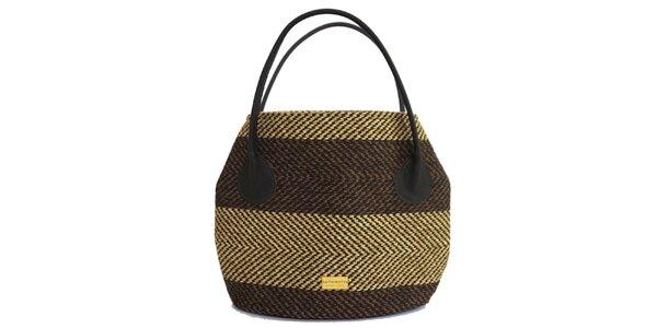 Dámská pruhovaná kabelka s tmavě hnědými poutky Bellemarie