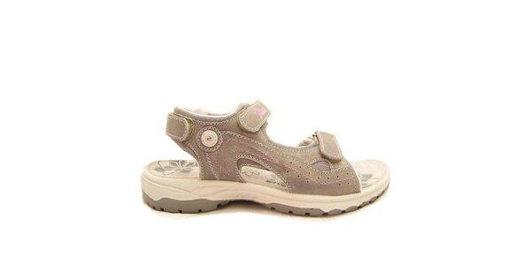 Dámské šedé sandály s růžovým prošíváním Numero Uno
