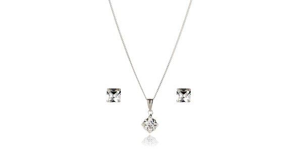 Stříbrná sada Swarovski Elements plochá kostka - náušnice a náhrdelník