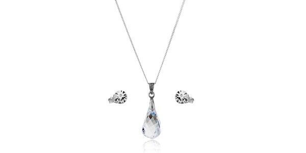 Stříbrná sada Swarovski Elements kapka - náušnice a náhrdelník