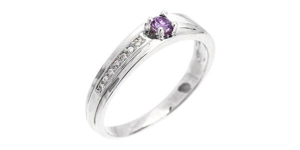 Dámský elegantní prsten s fialovým zirkonem Afrodite