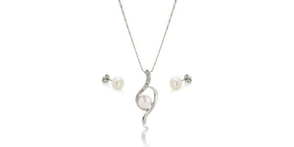 Sada perlových náušnic a náhrdelníku Swarovski Elements