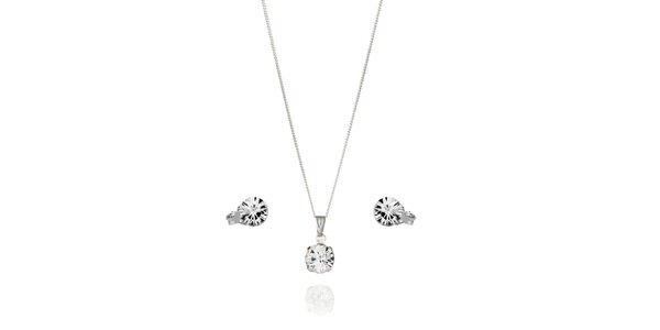 Sada stříbrných náušnic a náhrdelníku Swarovski Elements