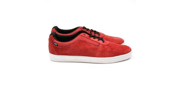 Pánské červené boty s černými tkaničkami Vans