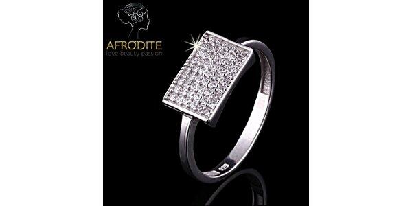 Dámský obdélníkový prsten se zirkony Afrodite