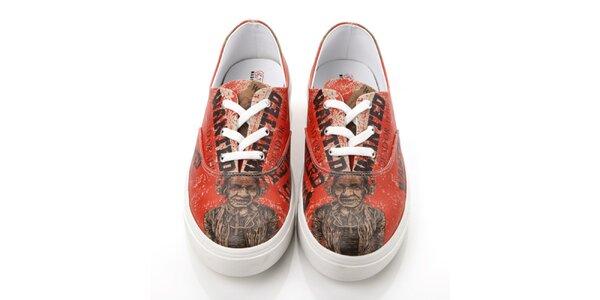 Pánské červené boty s potiskem Elite Goby