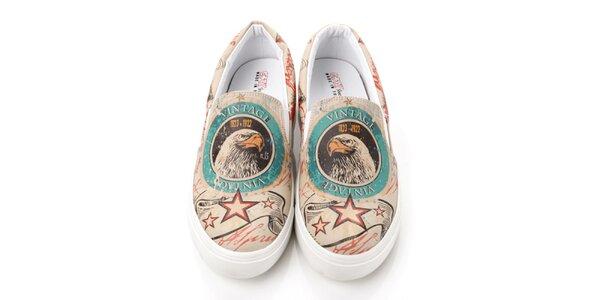 Pánské loafers s vintage orlem Elite Goby