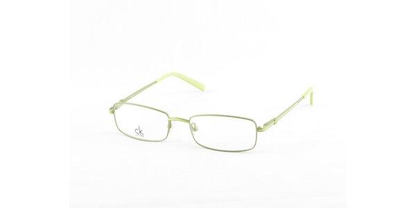 Stříbrné dioptrické obroučky Calvin Klein se zelenými detaily
