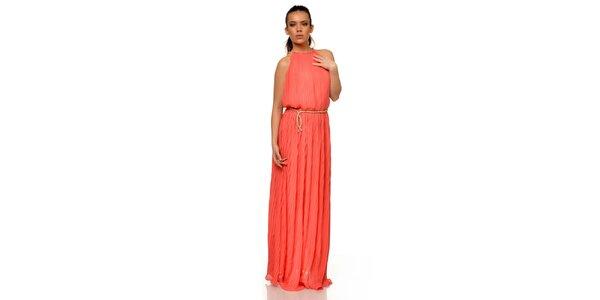 Dámské plisované šaty v korálové barvě Joseph Alessander