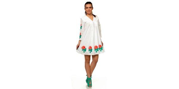 Dámské bílé šaty s květinovým potiskem Joseph Alessander