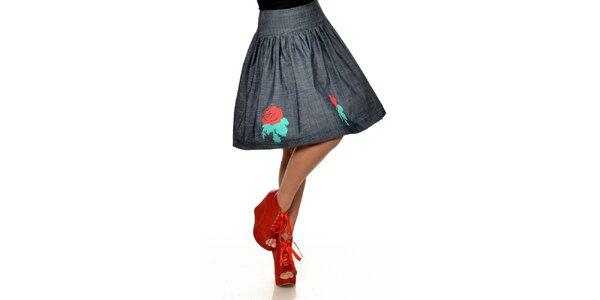 Dámská tmavá sukně s červenými růžemi Joseph Alessander