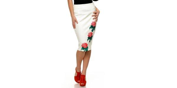 Dámská bílá sukně s červenými růžemi Joseph Alessander