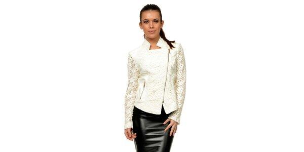 Dámská bílá koženková bunda s krajkou Joseph Alessander