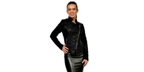 Dámská černá koženková bunda s krajkou Joseph Alessander