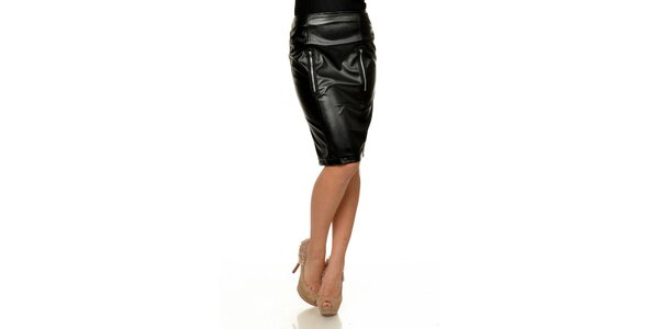 Dámská černá koženková pouzdrová sukně Joseph Alessander