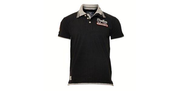 Černé pánské polo tričko s bílým lemováním Deeluxe