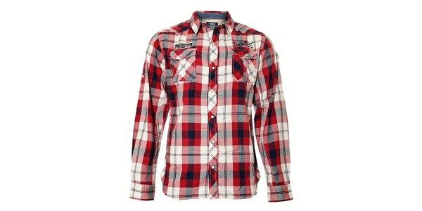 Pánská kostkovaná košile v červeno-bílé barvě Deeluxe