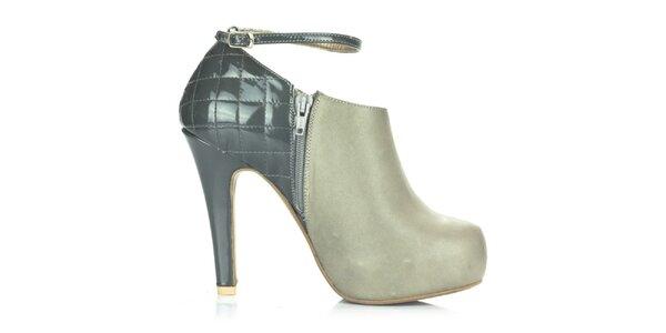 Dámské šedé kožené boty s přezkovým zapínáním Joana and Paola