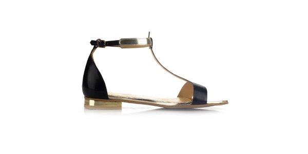 Dámské černé kožené sandály se zlatými prvky Joana and Paola
