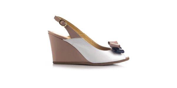 Dámské béžovo-bílé kožené sandálky na klínku Joana and Paola