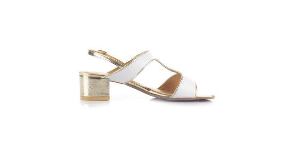 Dámské bílo-zlaté kožené sandály Joana and Paola