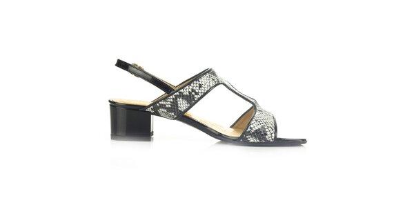 Dámské černé kožené sandály s hadím vzorem Joana and Paola