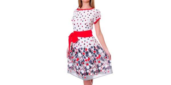 Dámské barevné šaty s červenou mašlí DAKA