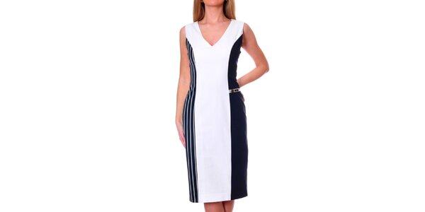 Dámské bílo-modré šaty s pruhovaným bokem DAKA
