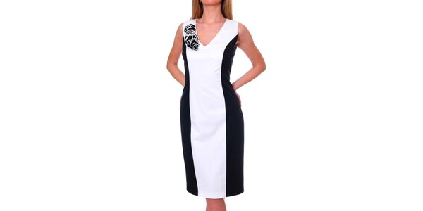 Dámské černo-bílé šaty s ozdobou DAKA