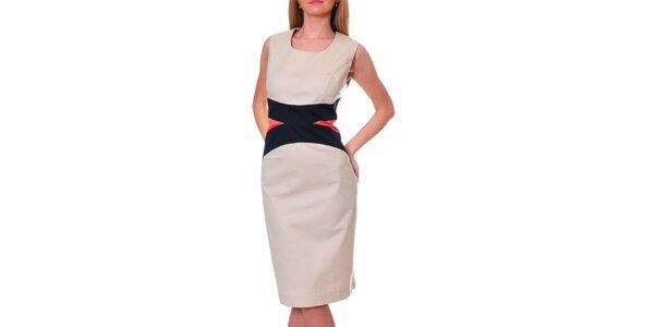 Dámské béžové šaty s černo-meruňkovým pasem DAKA