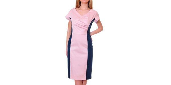 Dámské růžovo-modré pouzdrové šaty DAKA