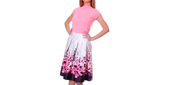 Dámská růžovo-fialová sukně s květinami DAKA