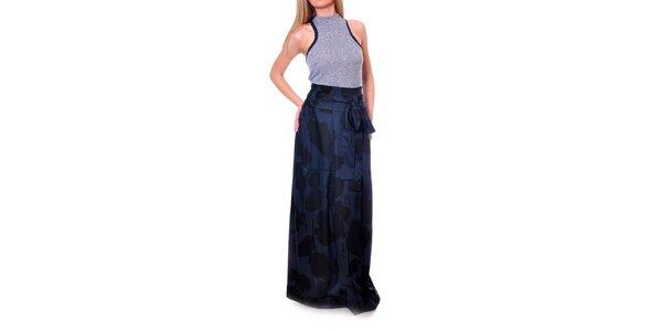 Dámská modro-černá vzorovaná sukně s vysokým pasem DAKA