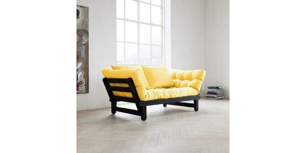 Rozkládací sofa KARUP BEAT PINE FSC BLACK/AMARILLO