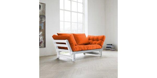 Rozkládací sofa KARUP BEAT FSC WHITE/ORANGE