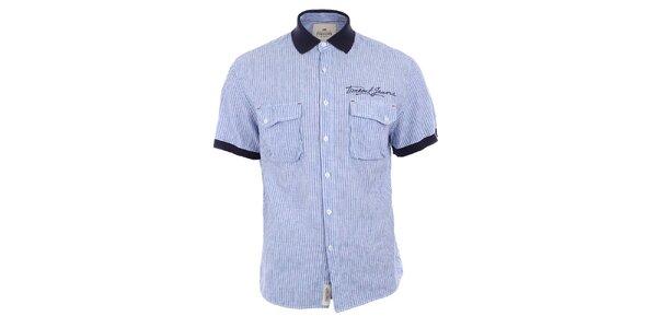 Pánská modře pruhovaná košile s tmavým límečkem Timeout