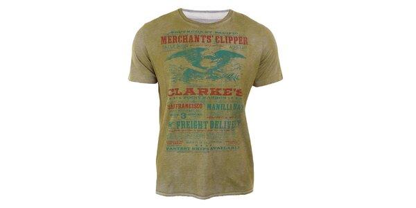 Pánské melírované tričko s barevným potiskem Timeout