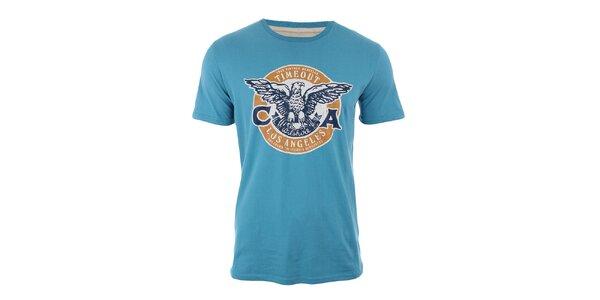 Pánské modré tričko s potiskem orla Timeout