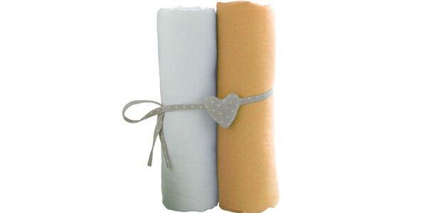Set 2 prostěradel bílá / oranžová 60 x 120 cm