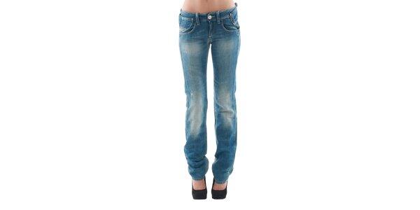 Dámské modré šisované džíny s oděrkami a stylovým páskem Fornarina